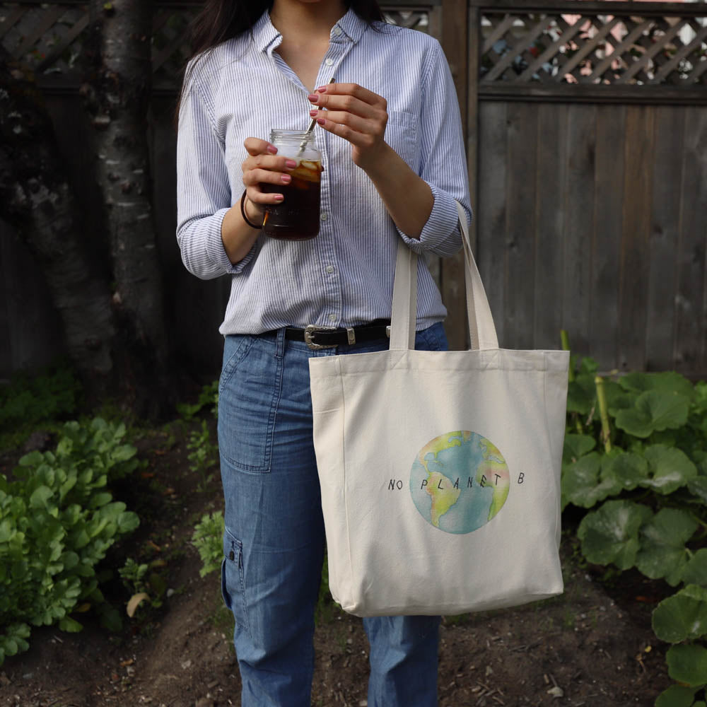 cotton tote bag with pocket  lifestyle - no planet b