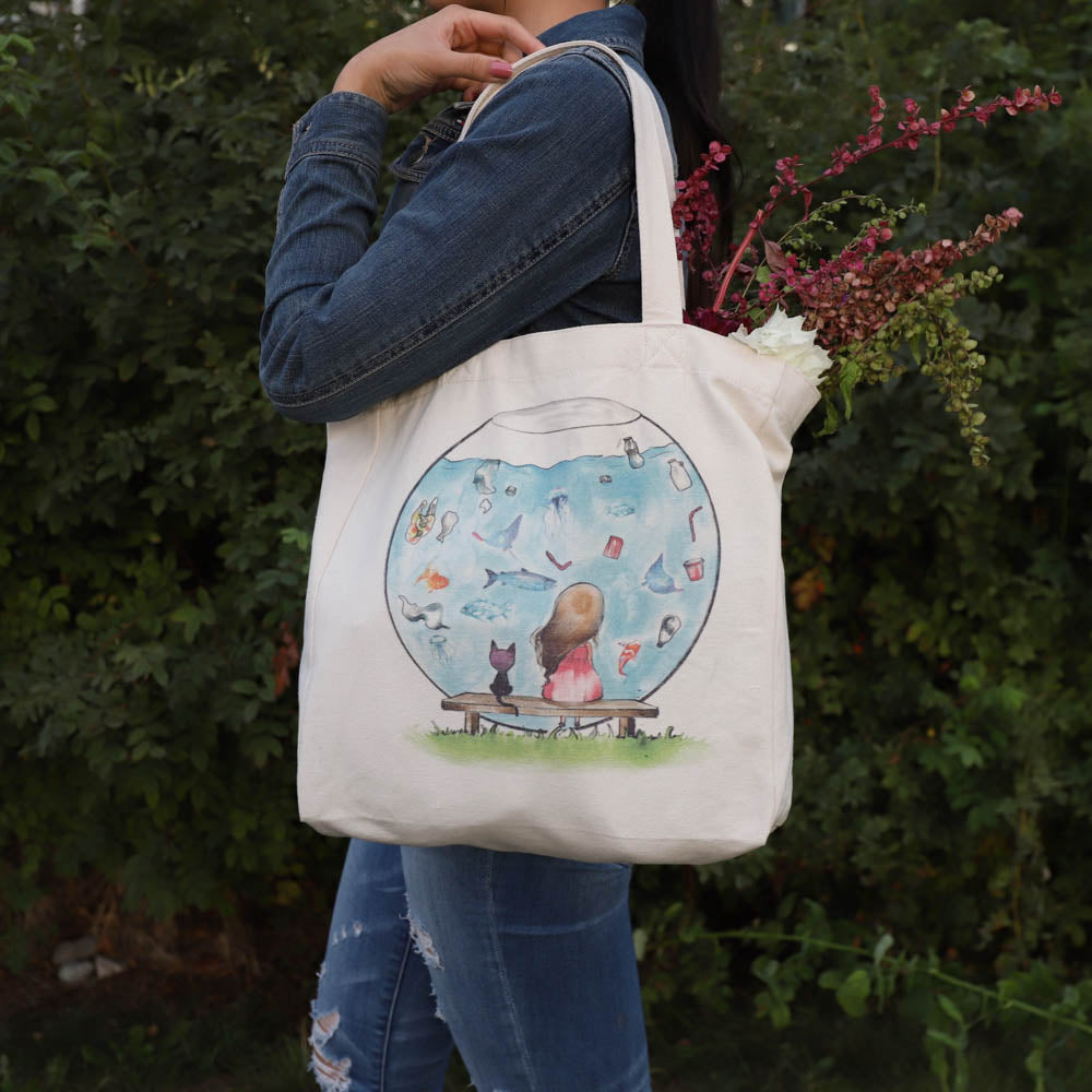 cotton tote bag with pocket lifestyle - plastic aquarium with flowers