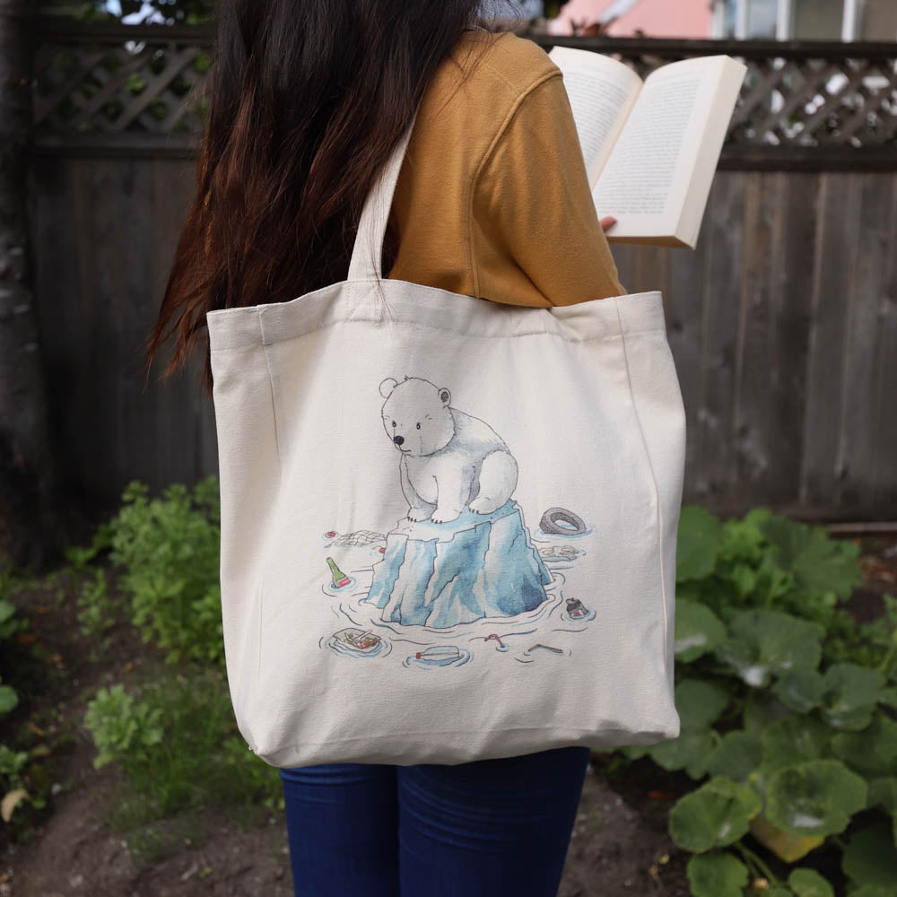 cotton tote bag with pocket lifestyle - polar bear on iceberg