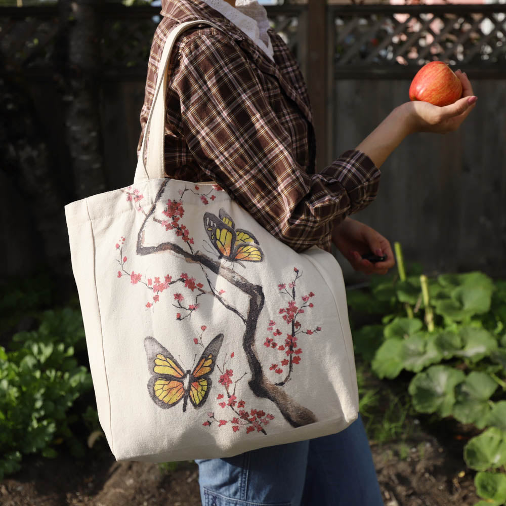cotton tote bag with pocket lifestyle - sakura's butterflies