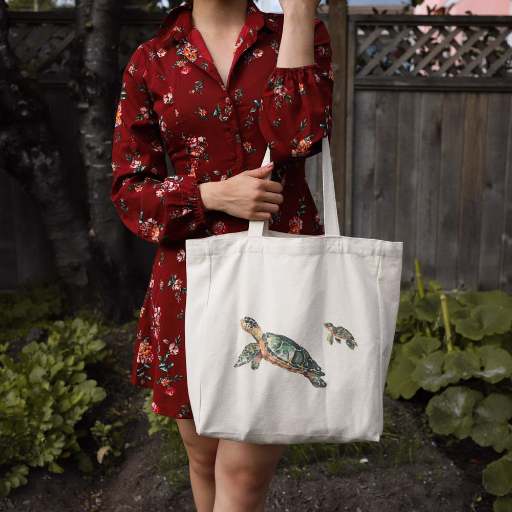 cotton tote bag with pocket  lifestyle - turtle with baby
