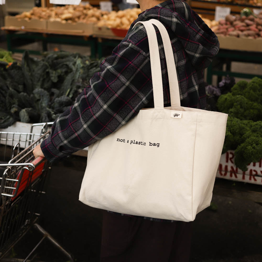 cotton tote bag with pockets lifestype - not a plastic bag