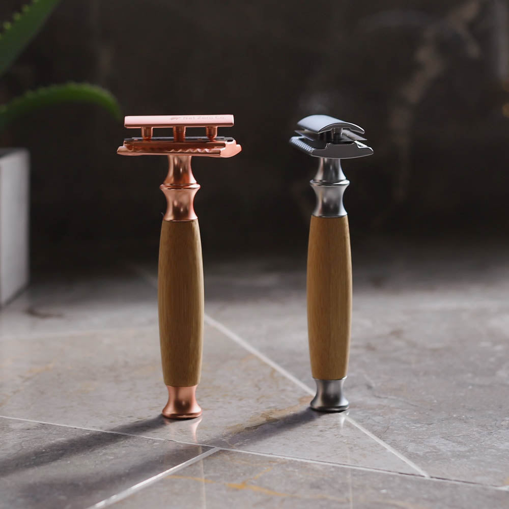 double edge safety razor lifestyle - silver and rose gold