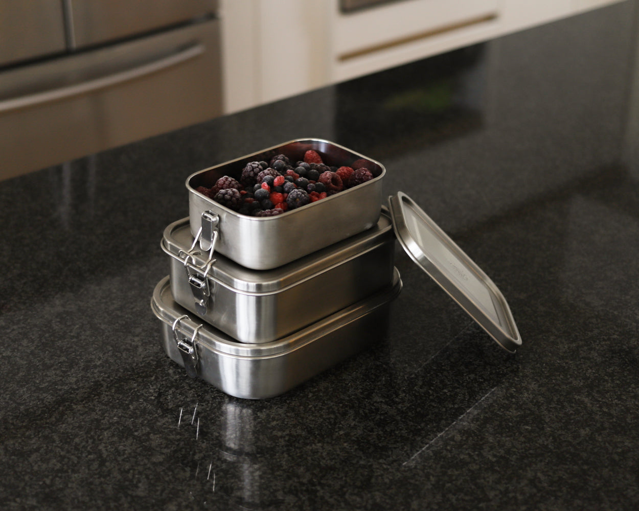 frozen fruit in stainless steel containers by Net Zero co