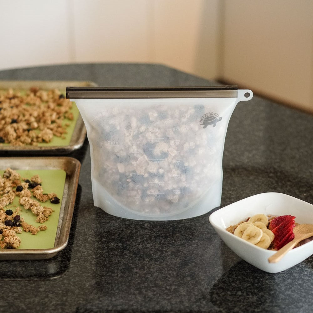 large silicone food storage bag with granola sustainable kitchen