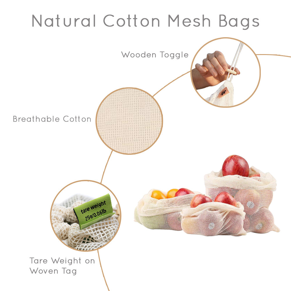 natural cotton mesh bags with wooden toggle, tare weight, breathable cotton