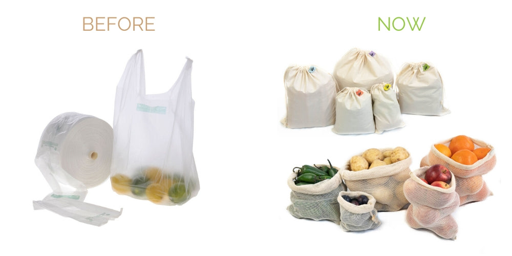 replace plastic produce bags with reusable cotton mesh muslin bags