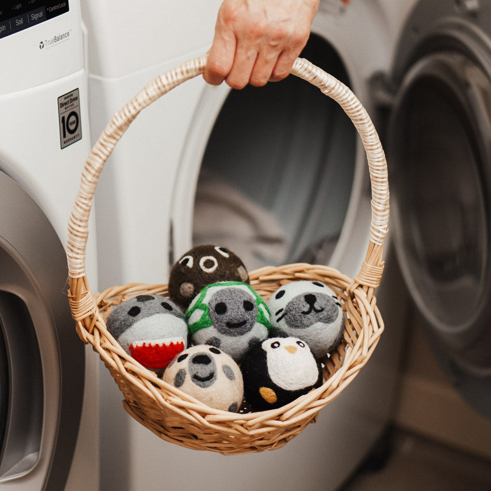 reusable dryer balls with cute animal designs