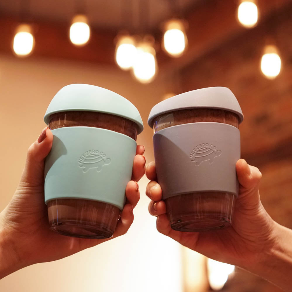 silicone glass coffee cup lifestyle - blue and grey