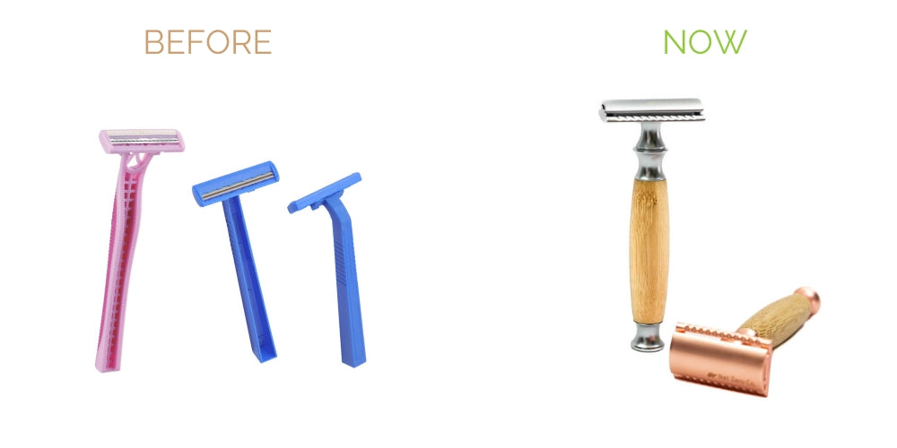 swap disposable plastic razors with reusable safety razors