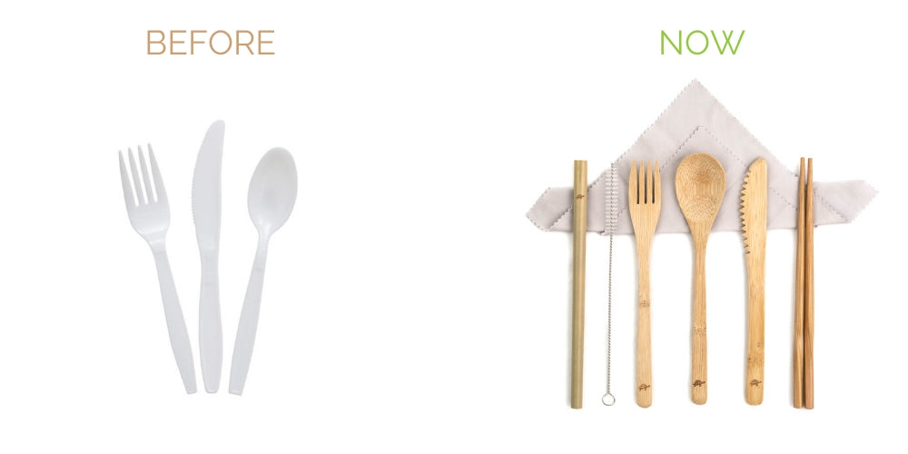swap plastic cutlery with resable bamboo cutlery set with handkercheif