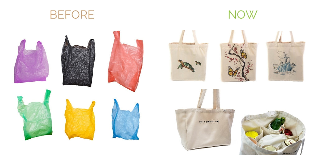 swap plastic grocery bags to reusable cotton canvas tote bags