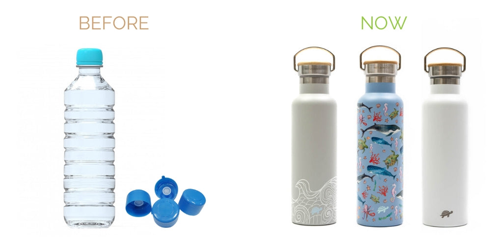 swap plastic water bottles with insulated stainless steel bottles