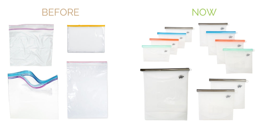 switch from disposable plastic zip locks to reusable silicone sealer bags
