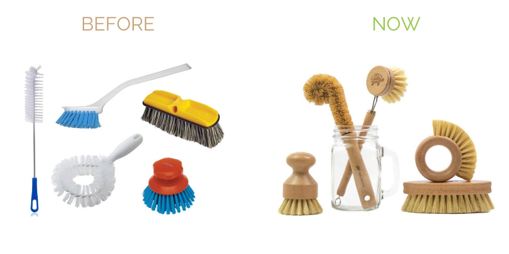 switch from plastic cleaning brushes to biodegradable cleaning brushes