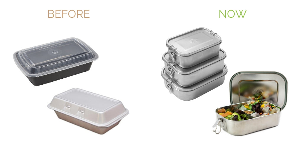 switch from single use plastic to go lunchboxes to stainless steel bento boxes