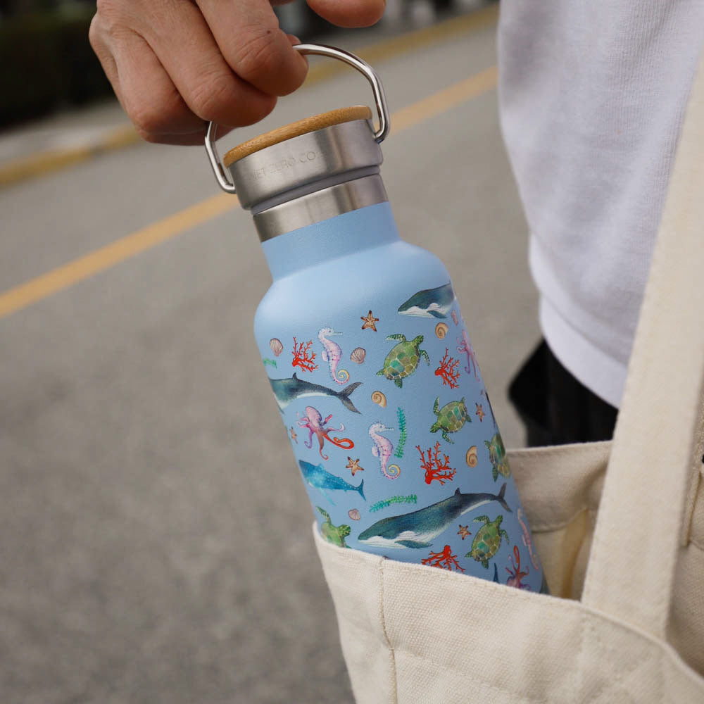 water bottle lifestyle - blue marine out of bag