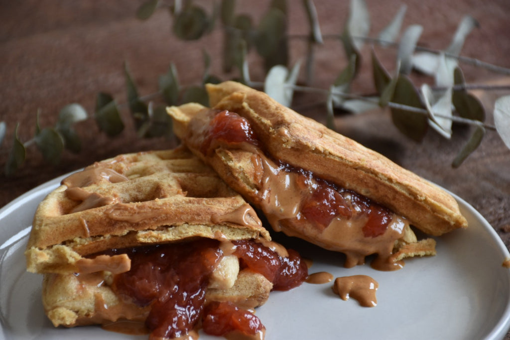 Monday Munchies: Peanut Butter & Jelly Waffle Sandwiches