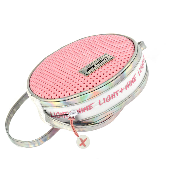 zipper view of the EVA / Silicone Kids Crossbody Bag Pink