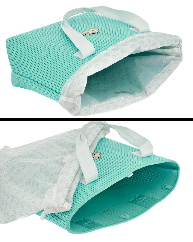 images of the inside liner bag of the Wet N Dry Beach Bag Turq Green