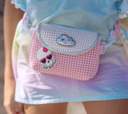close-up of Kid wearing the Fanny Pack Pink