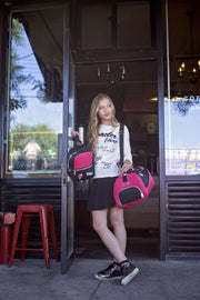 Girl Wearing the Roma Duffel Bag with Shoe Compartment sweet pink.jpg