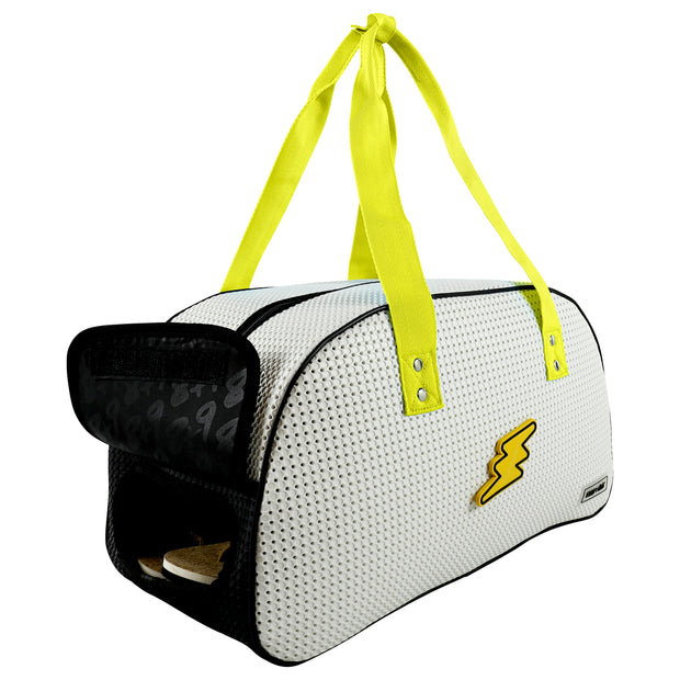 Shoe Compartment of The Duffy Kids Ultra Light Travel Bag Arctic Lime Yellow.jpg