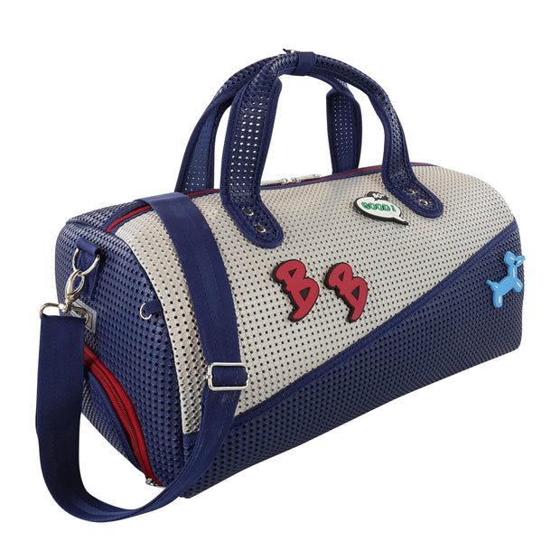 Roma Duffel Bag with Shoe Compartment American Blue side angel.jpg