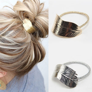 2 x Leaf Hair Band - Elastic Ponytail Holder