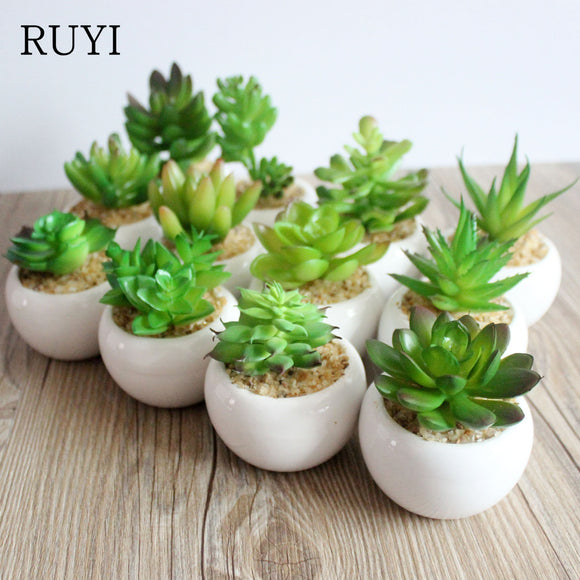 A Set Artificial Green Plant Artificial Miniascape/Bonsai/Potted Home & Balcony Succulent Plants