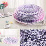 Round Mandala Pillow Case -  Indian Bohemian Cushion Cover -  Boho Pillowcase 45cm 75cm