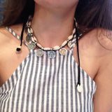Boho Silver Coin & Shell Choker Necklace  - Use as Necklace or Anklet