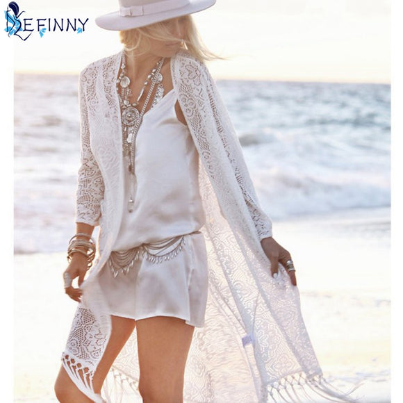 Boho Long Lace Kimono Cardigan with Tassels - Beach Cover Up