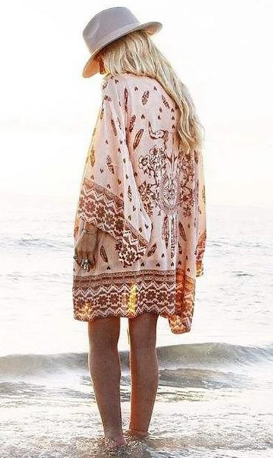 Boho Printed Kimono -  Casual Loose Beach Cover Up