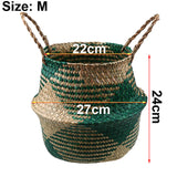 S/M/L Seagrass Wickerwork Basket Rattan - Foldable