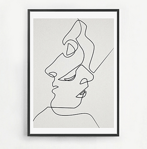 Line Drawing Face Sketches Minimalist Art Canvas Poster  Black  & White Abstract Picture Print Modern