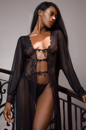 Sheer Long Sleeve Lace Kimono with Thong