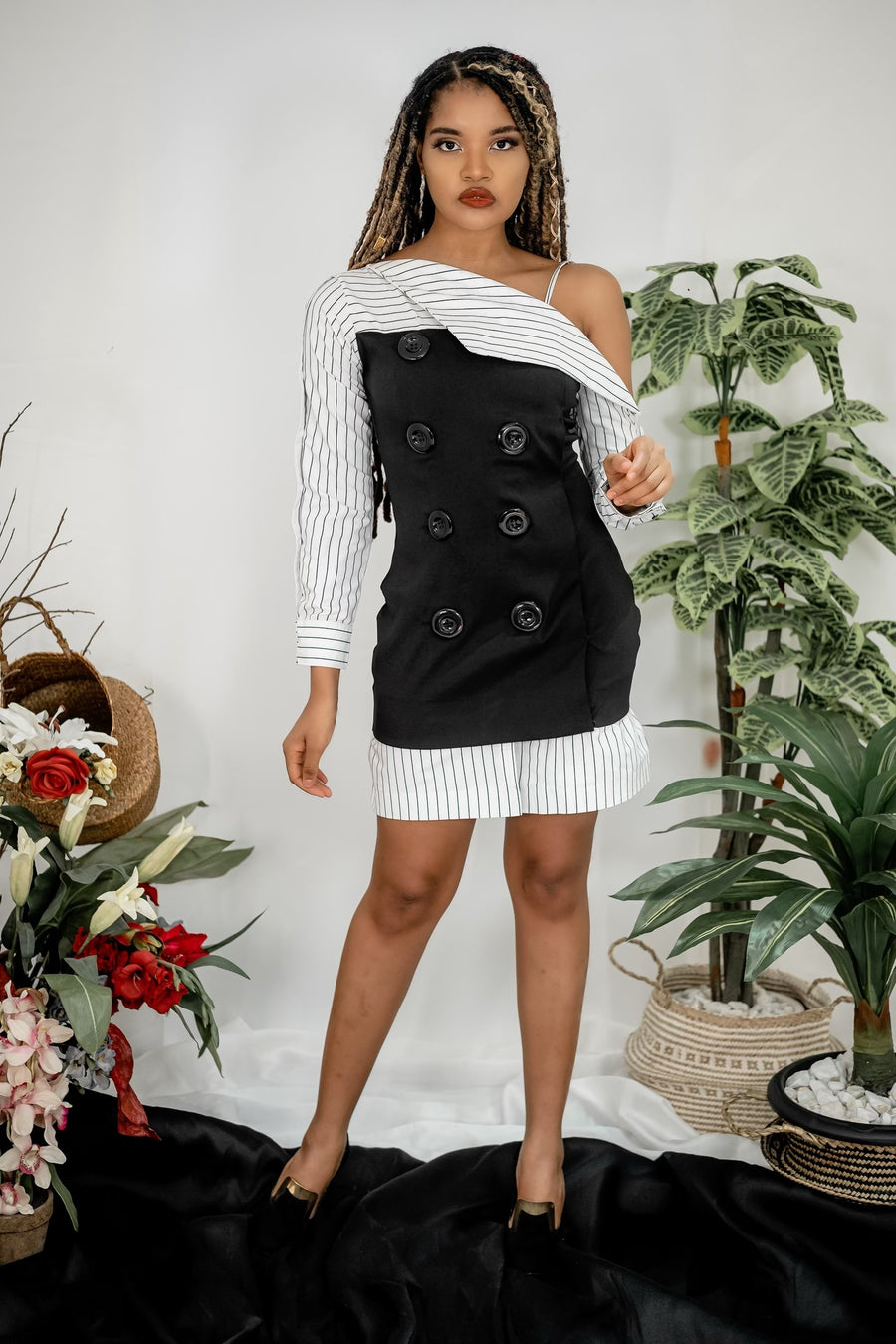 BLACK & WHITE DECONSTRUCTED DRESS