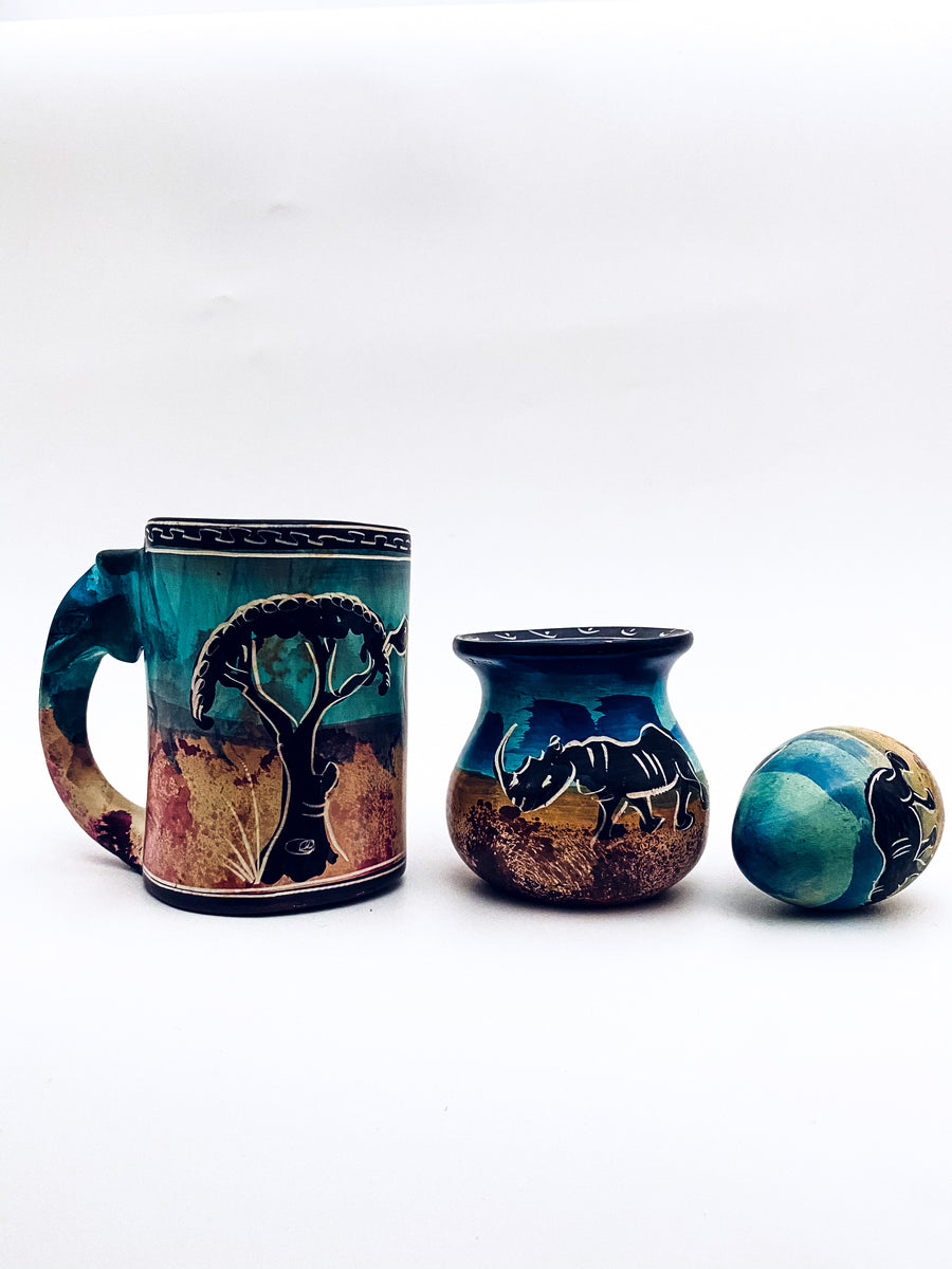 hand crafted mug and mini pot & Egg set