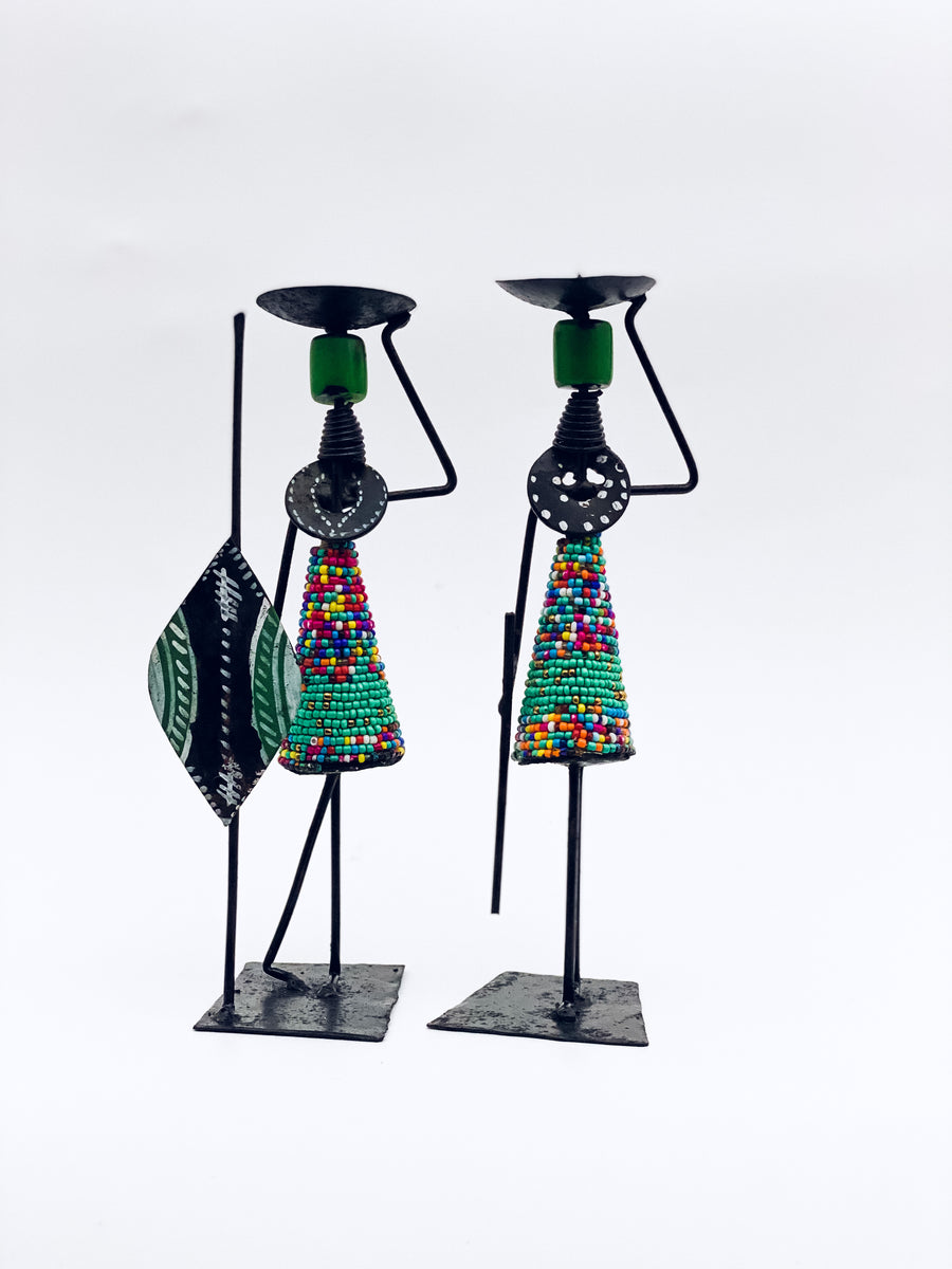 Man and Woman hand crafted candle holders