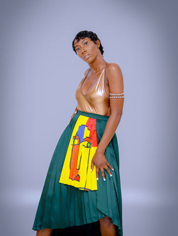PLEATED FULL WRAP SKIRT WITH YELLOW HAND PAINTED ART
