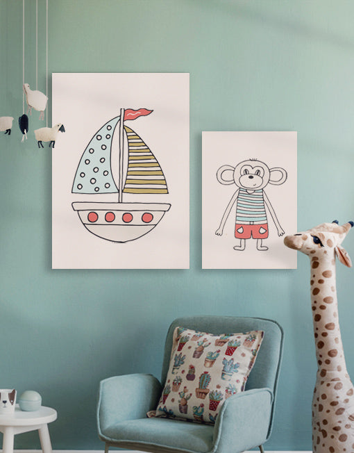 Little Boat and Monkey Kinderzimmerbild tolle Bilderwand