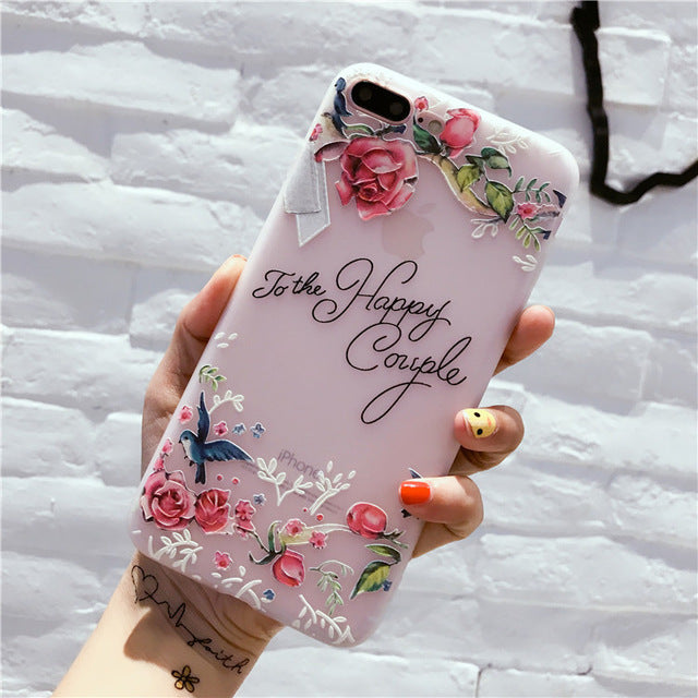 Flower Pattern Case For iPhone 6, 6s, 7, 8 Plus, X