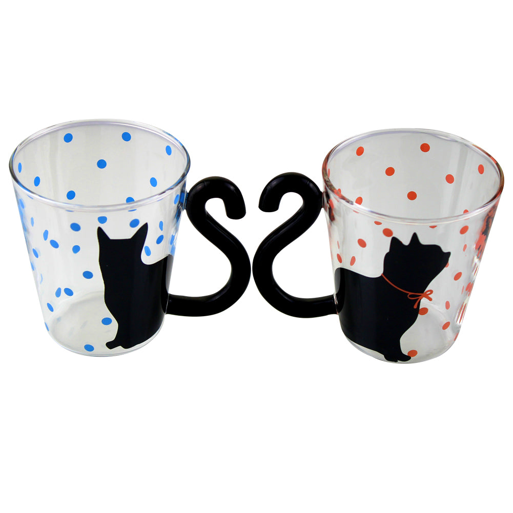 Glass Coffee Mug Tea Cup Birthday Christmas Gift, Cat Tail