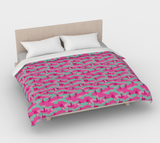 Duvet Cover in Ballet Camo, in pinks and pale blue, for king size bed.
