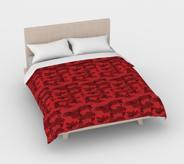 Duvet Cover in Skateboard Camo, in reds, for queen size bed.