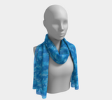 Birds Camo Scarf long. In blues. Around mannikin's neck.