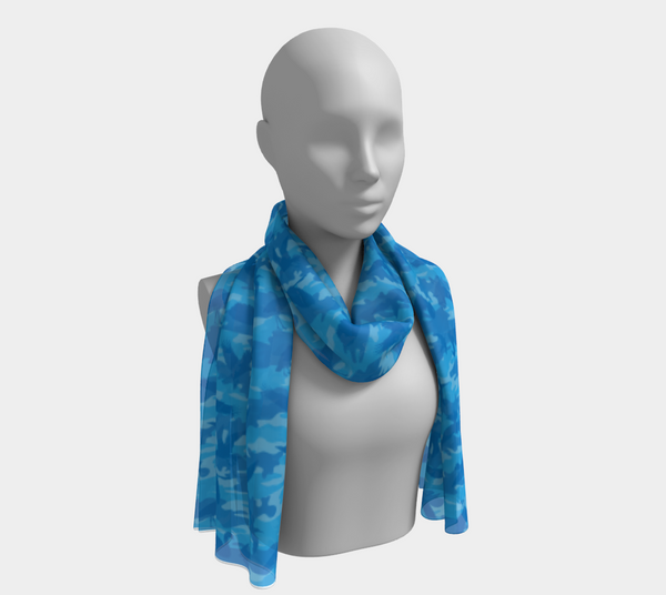 Camo Scarf Long | Birds | Shades of Blue - Mask Brand Camo Design Clothing, Bags and Accessories