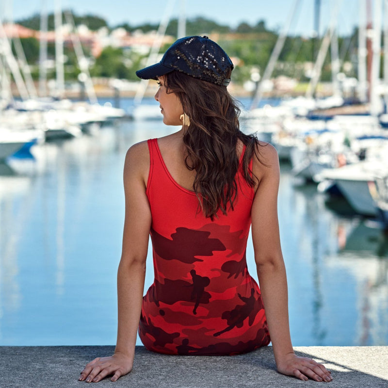 Tank Dresses in reds and black. Model shows back view of our Soccer Camo pattern.
