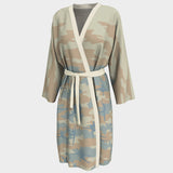 Peignoir Robe, Ballet 1 pattern, beige, peach, pale blue. Front view.